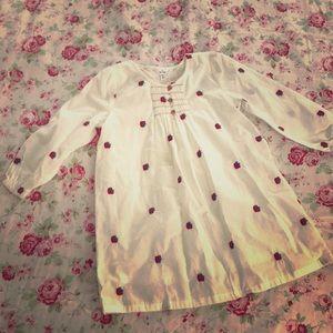 Girls 5 -6 Y cotton dress strawberry embroider NWT